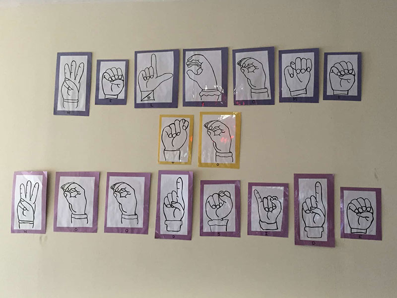 Drawings of American Sign Language hand signals on the wall at Southwood Hospital