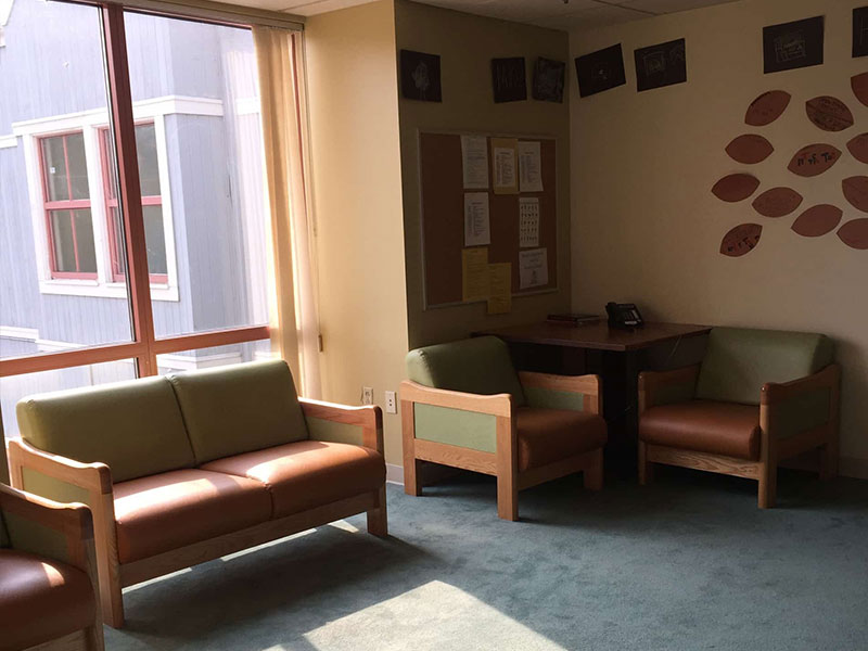 Chairs and couches in a waiting room at Southwood Hospital