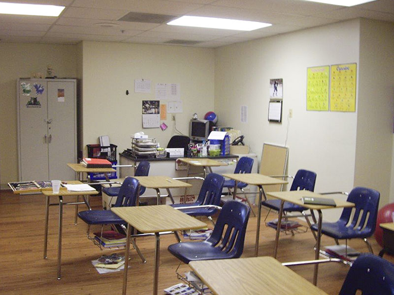 Desks in a classroom at Southwood Hospital