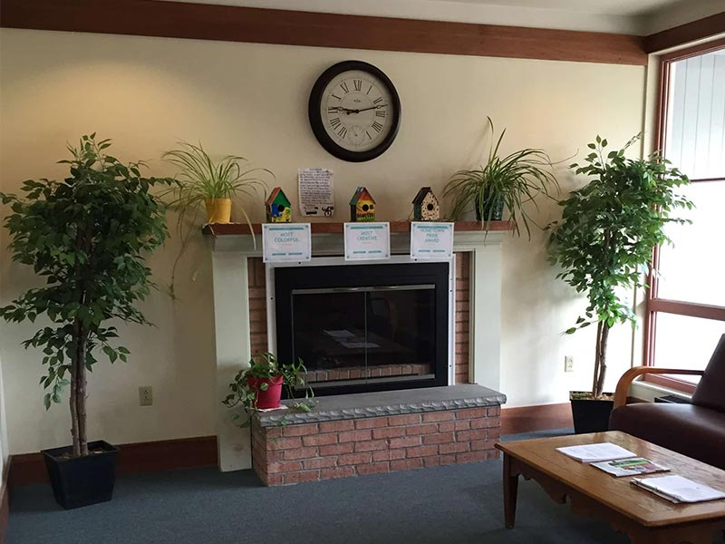 A fireplace in the lobby at Southwood Hospital